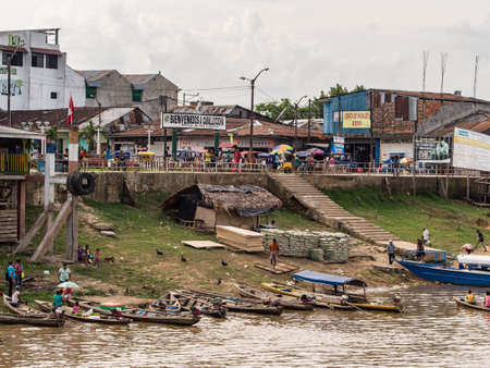 Caballococha, Peru - Dec 11, 2017: Small town with the port on bank of the Amazon river on the way from Santa Rosa to Iquitos. Amazonia. South America.