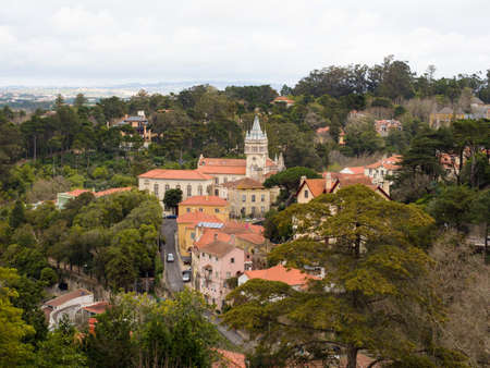 Portugal-Jan 2019: Aerial view for historic center of Sintra with tower of Town Hall. It is a town in Greater Lisbon region of Portugal, located on the Portuguese Riviera. UNESCO World Heritage Site.