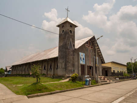 Pebas, Peru - Sep 20, 2017: Church in the small town on the bank of Amazon River, Latin America. Iquitos, South America, Amazonia 新闻类图片