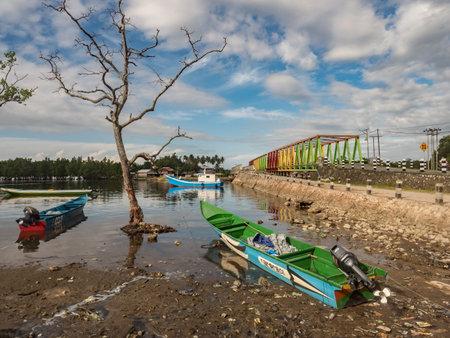 Kaimana, Indonesia, Feb 2018: ARRIVAL AIR MOST (JEMBATAN AIR TIBA) - the largest bridge in Kaimana on the Birds Head Peninsula, West Papua, Indonesia JEMBATAN AIR TIBA