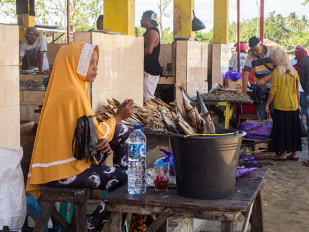 Kaimana, West Papua, Bird's Head Peninsula, Indonesia - February 2018: Fish market in Asia in a small town between the rainforest on the shores of Arguni Bay