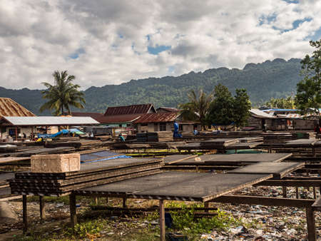Special nets prepared for drying fish in Kaimana on the Seram Sea. Village and a lot of garbage in the background. Bird's Head Peninsula, West Papua, Indonesia, Asia. Banque d'images