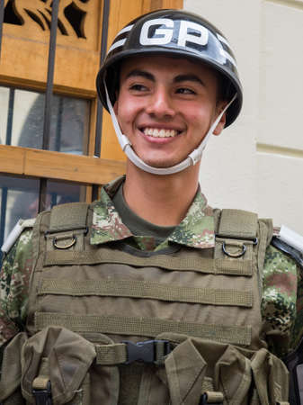 Bogota, Colombia - May 01, 2016: Portrait of a soldier on the streets of Bogota, South America. Editöryel