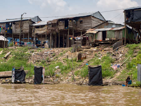 Belen, Peru- Sep 2017: Floating houses and floating toilets in the floodplain of the Itaya River, poorest part of Iquitos - Belén. Iquitos, South America, Amazonia. Low water season