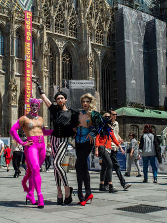 Vienna, Austria - May 2017: Lesbian, gay and transgender people celebrate in disguise in the square in front of St. Stephen's Cathedral Stephen's in Vienna