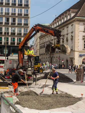 Vienna, Austria - May 23, 2017: Ddigger working on the square before St. Stephen's Cathedral in Vienna