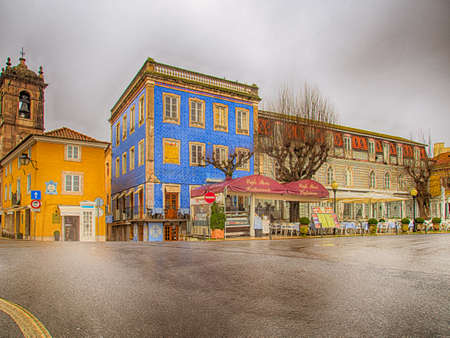 Portugal-Jan 2019: Vintage photos of historic center of Sintra in a foggy day. It is a town in Greater Lisbon region of Portugal, located on the Portuguese Riviera.