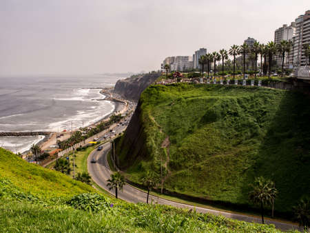 Lima, Peru - May 27, 2016: Beautiful view of Lima coastline from Miraflores district. South America