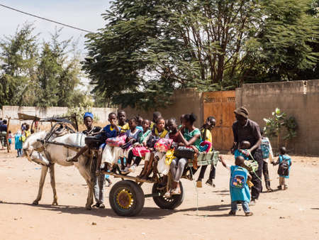 Senegal, Africa - Jan 2019: Transport of African children on the cart from school - african school bus. Education happiness symbol
