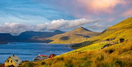 Beautiful during sunset for to the peaks of Eysturoy Island. Faroe Islands. Denmark. Northern Europe Stok Fotoğraf