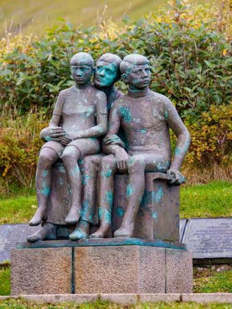 Gjógv, Faroe Island - Sep, 2020: Memorial of people who lost their lives at sea. Nortern Europe