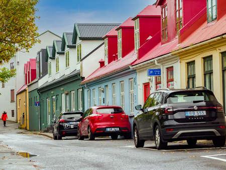 Torshavn, Faroe Islands - October 2020: Street with colorful houses in Torshavn on Vagar Island, Faroe Islands, Denmark, Northern Europe.