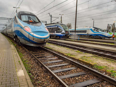 Warsaw, Poland - October 20, 2017: View of many Polish Intercity passenger trains at the railway depot in Olszynka Grochowska Stok Fotoğraf - 167120817