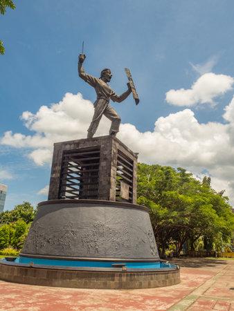 Ambon, Indonesia - Feb, 2018: Statue of Patung Pattimura (Thomas Matulessy) an Indonesian National Heroes, Ambon City near Lapangan Merdeka Ambon, Patung Pattimura