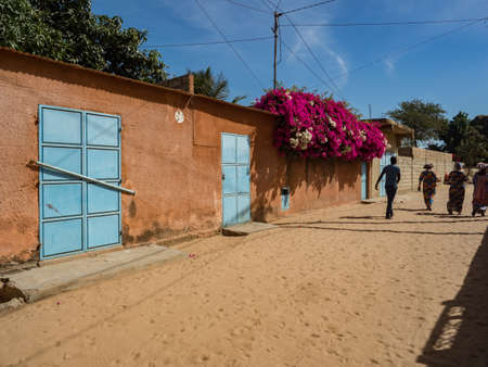 Senegal, Africa - Jan 2019: Street in a small African town.