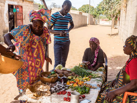 Senegal, Africa - Jan, 2019: Local market with different kind of fruit on the street of Senegal. Africa. 新闻类图片