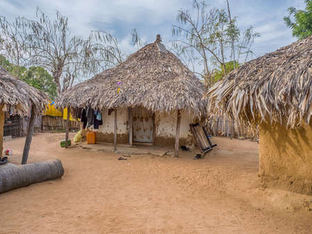 Senegal, Africa - January 2019: Traditional African small village with clay houses covered with palm leaves 新闻类图片