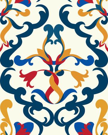 kitchen spanish: Seamless floral ceramic pattern, best for tile, Orange-Blue style Illustration