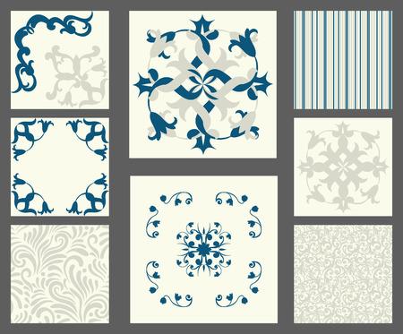 kitchen spanish: Collection of tile patterns, blue style Illustration