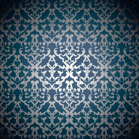 Luxe sier bloemenbehang Stock Illustratie