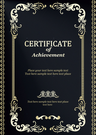Elegant Classic Certificate of achievement  Vintage frames and border  Easy to use