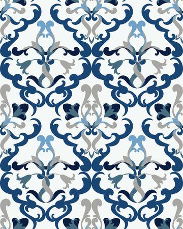 whiteblue: Seamless floral ceramic pattern, best for tile, White-Blue style  Illustration