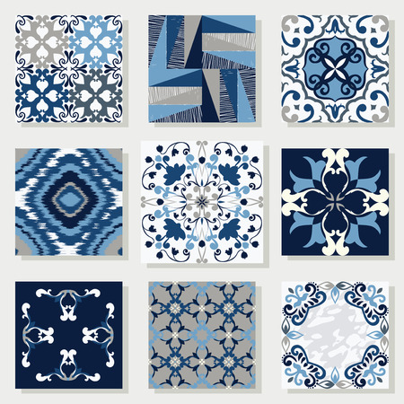 mosaic floor: Collection of 9 ceramic tiles, in blue-white style