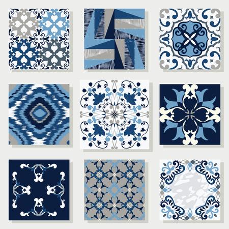 Verzameling van 9 keramische tegels, in blauw-wit stijl