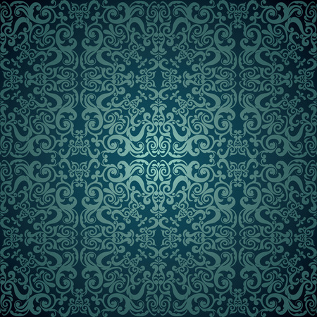 Damask wallpaper, blue design 向量圖像