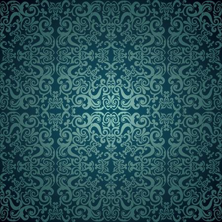 Damast behang, blauw ontwerp