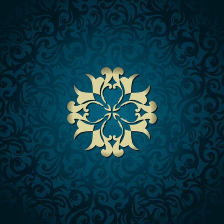 royal blue background: Vintage card with pattern in dark blue