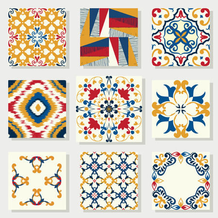 Collection of 9 ceramic tiles, blue-orange style  Vector