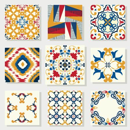 Verzameling van 9 keramische tegels, blauw-oranje stijl