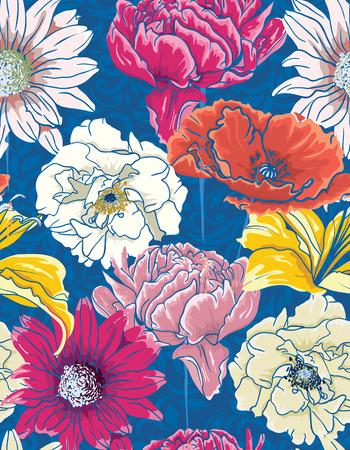 Naadloos bloemenpatroon met hand getekende gekleurde gedetailleerde bloemen, blauwe achtergrond