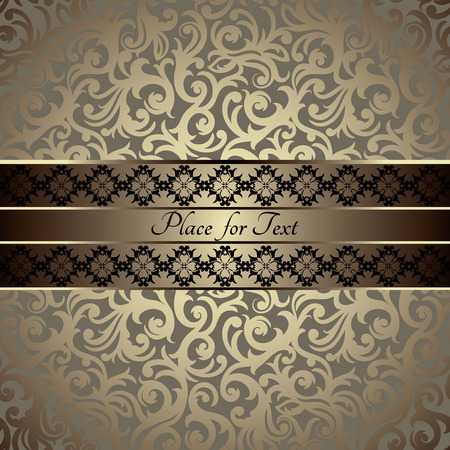 gold brown: Vintage card with a border on floral wallpaper, luxury golden design  Illustration