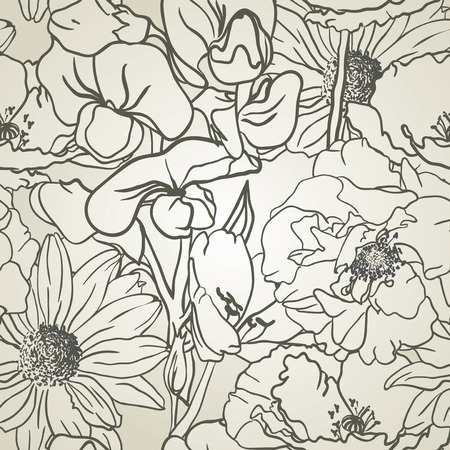 Seamless hand drawn Floral Pattern On Monochrome Background  Vector