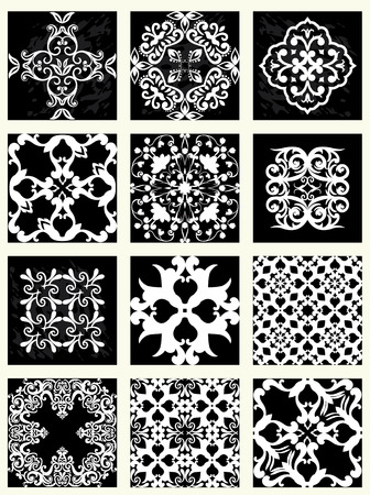 Collection of 12 tile patterns, monochrome  向量圖像