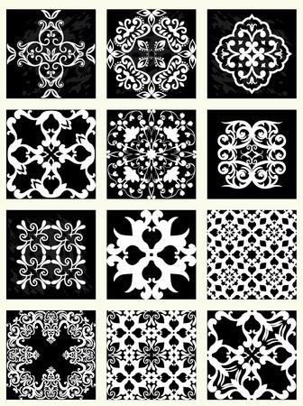 Verzameling van 12 tegel patronen, monochroom