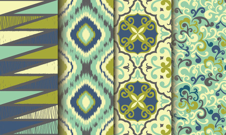 tiles texture: Collection of 4 old patterns Illustration