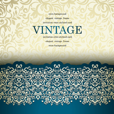 Luxury vintage card with floral lace border Vector