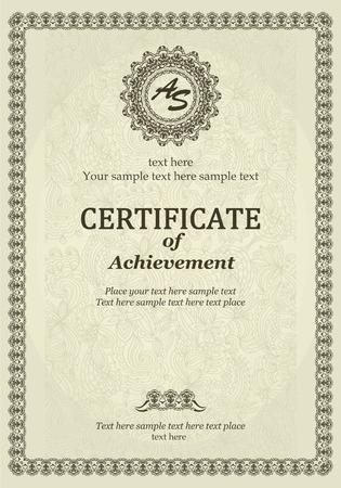 Elegant Classic Certificate of achievement Vectores