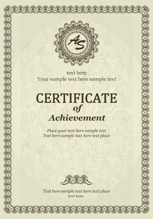 Elegant Classic Certificate of achievement Vector