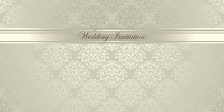 Luxury light damask floral Wedding Invitation Vectores
