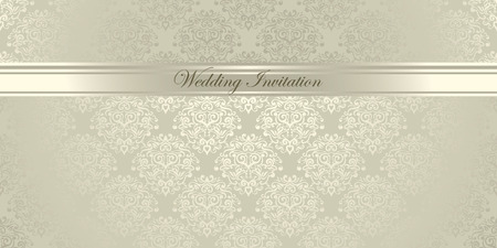 Luxury light damask floral Wedding Invitation 向量圖像