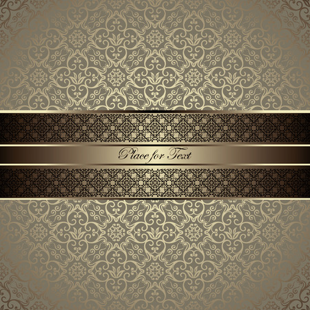 Vintage card with a border on seamless damask wallpaper Çizim