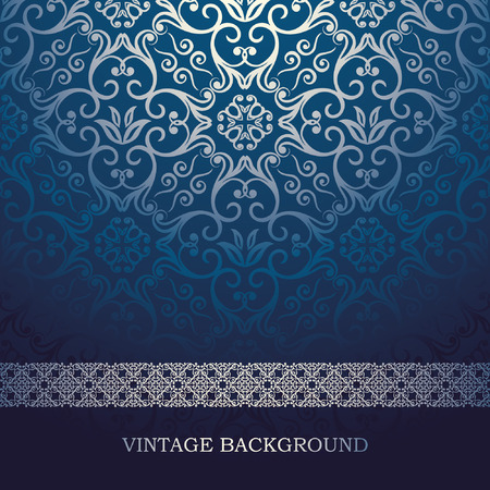 ornamental background: Vintage Card with damask background, luxury blue design