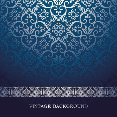 fondo elegante: Vintage tarjeta con el fondo del damasco, diseño azul de lujo Vectores