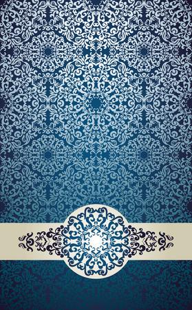 royal blue background: Vintage card with seamless lace damask background Illustration
