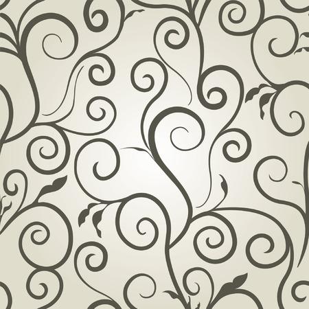Monochrome seamless floral pattern