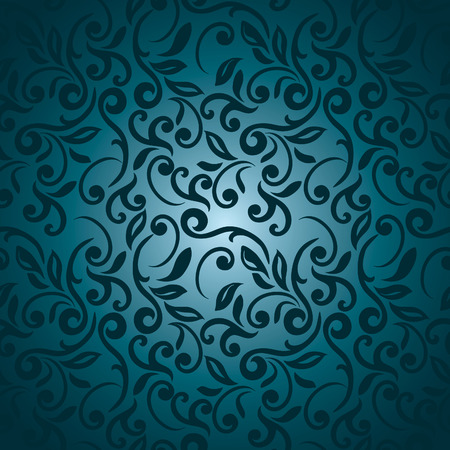 Seamless abstract floral pattern, blue style
